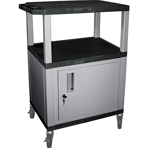 H Wilson 3 Shelves Tuffy AV Cart W/Black Legs, Cabinet & Electrical Attachment, Black