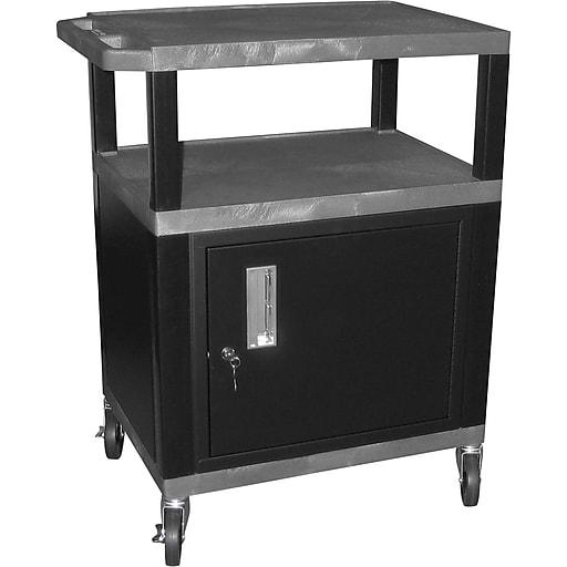 "H Wilson® 4""(H) 3 Shelves Tuffy AV Cart W/Putty Legs, Cabinet & Electrical Attachment, Gray"