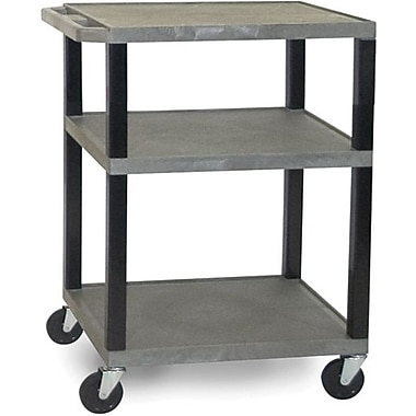 H Wilson® 3 Shelves Tuffy AV Cart W/Electrical Attachment, Gray