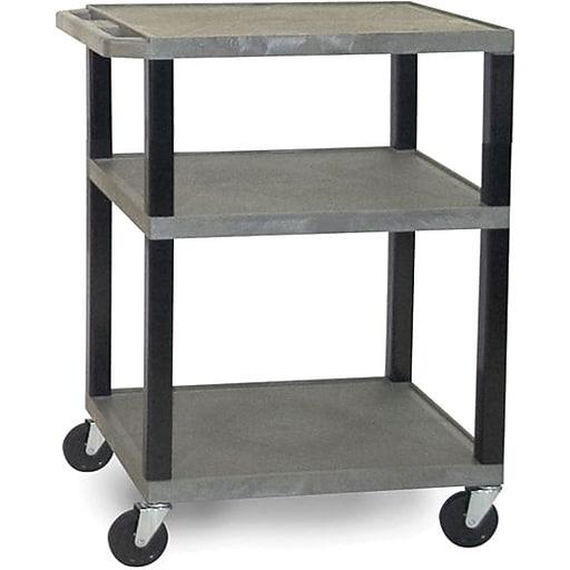 H Wilson® 3 Shelves Tuffy AV Cart W/Electrical Attachment, Gray