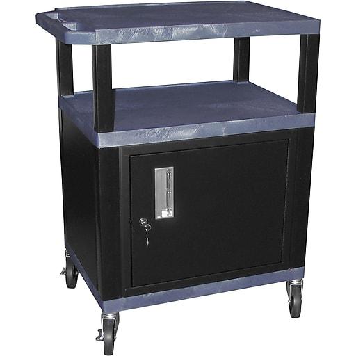 H Wilson® 3 Shelves Tuffy AV Cart W/Putty Legs, Cabinet & Electrical Attachment, Navy