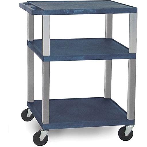 "H Wilson 34""H 3 Shelves Tuffy AV Carts W/Nickel Legs & Electrical Attachment, Navy"