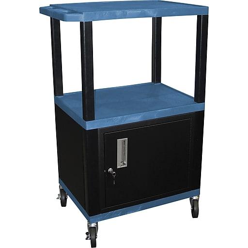 "H Wilson® 42 1/2""(H) 3 Shelves Tuffy AV Carts W/Cabinet & Electrical Attachment, Blue"