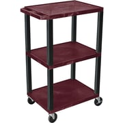 "H Wilson® 42""(H) 3 Shelves Tuffy Carts W/Black Legs, Burgundy"