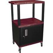 "H Wilson® 42 1/2""(H) 3 Shelves Tuffy AV Carts W/Cabinet & Electrical Attachment, Burgundy"