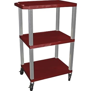 H Wilson® 3 Shelves Tuffy AV Cart W/Electrical Attachment, Burgundy
