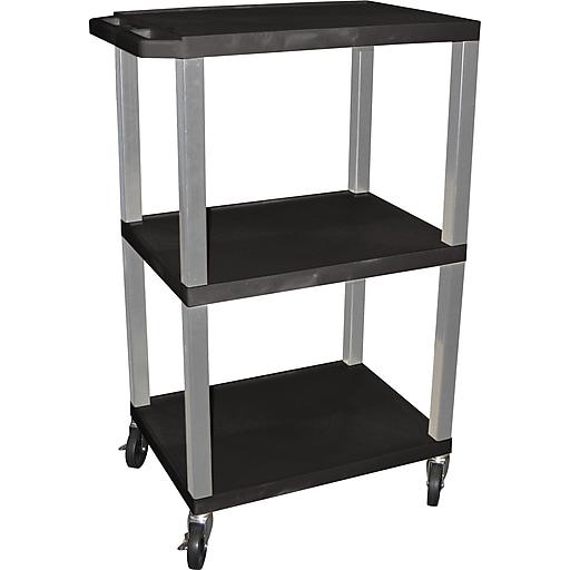 "H Wilson® 42 1/2""(H) 3 Shelves Tuffy AV Carts W/Nickel Legs & Electrical Attachment, Black"