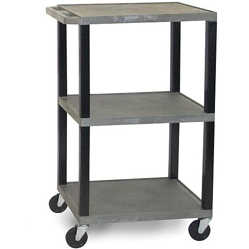 "H Wilson® 42 1/2""(H) 3 Shelves Tuffy AV Carts W/Black Legs & Electrical Attachment, Gray"
