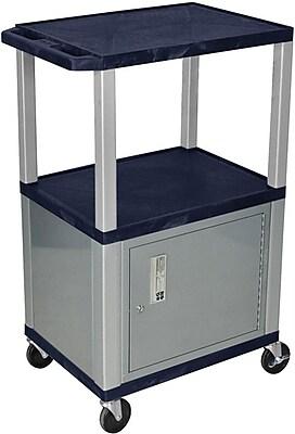 H Wilson® 3 Shelves Tuffy AV Cart W/Cabinet, Navy