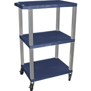 "H Wilson® 42 1/2""(H) 3 Shelves Tuffy AV Carts W/Nickel Legs & Electrical Attachment, Navy"
