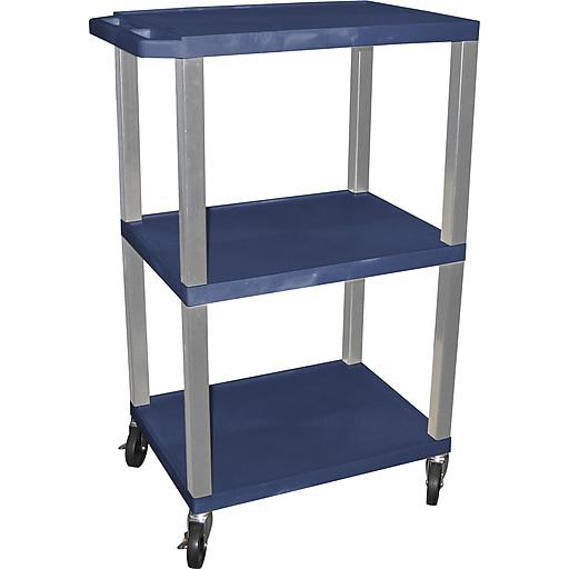 "H Wilson® 42 1/2""(H) 3 Shelves Tuffy AV Carts W/Nickel Legs & Electrical Attachment, Navy"