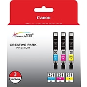Canon CLI-251XL Cyan/Magenta/Yellow High Yield Ink Cartridge, 3/Pack (6449B009)
