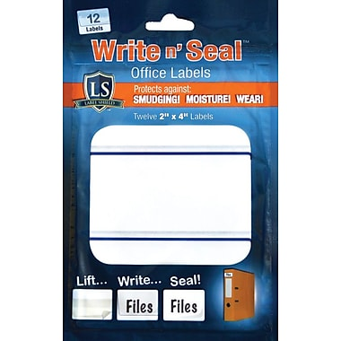 """Label Shield - Write n' Seal™ Self-Laminating Office Supply Labels, 2"""" x 4"""", 12/Pack"""