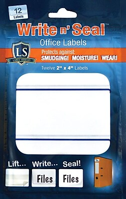 "Label Shield - Write n' Seal™ Self-Laminating Office Supply Labels, 2"" x 4"", 12/Pack"