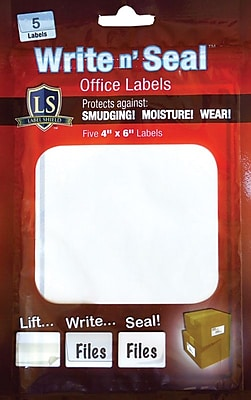 "Label Shield - Write n' Seal™ Self-Laminating Office Supply Labels, 4"" x 6"", 5/Pack"
