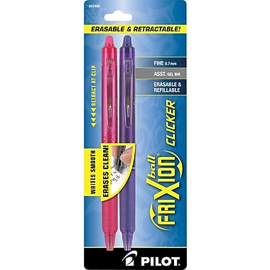 Pilot FriXion Ball Clicker Erasable Gel Pens, Fine Point, Pink/Purple, 2/Pack (31490)