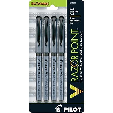 Pilot V Razor Point Liquid Ink Marker Pens, Extra Fine Point, Black, 4/Pack (11025)