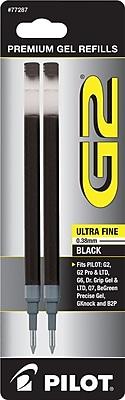 Pilot Gel Roller Refill, Ultra Fine Point, Black, 2/Pack (77287)