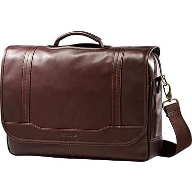 Samsonite – Sac à rabat pour ordinateur portatif de 15,6 po, cuir colombien, brun