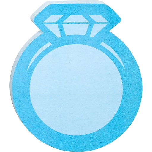 """Post-it® Die-Cut Memo Cube, 3"""" x 3"""", Blue, Ring-Shaped, 2 Pads/Pack (2050-FC-RING)"""