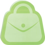 "Post-it® Die-Cut Memo Cube, 3"" x 3"", Green, Purse-Shaped, 2 Pads/Pack (2050-FC-PURS)"