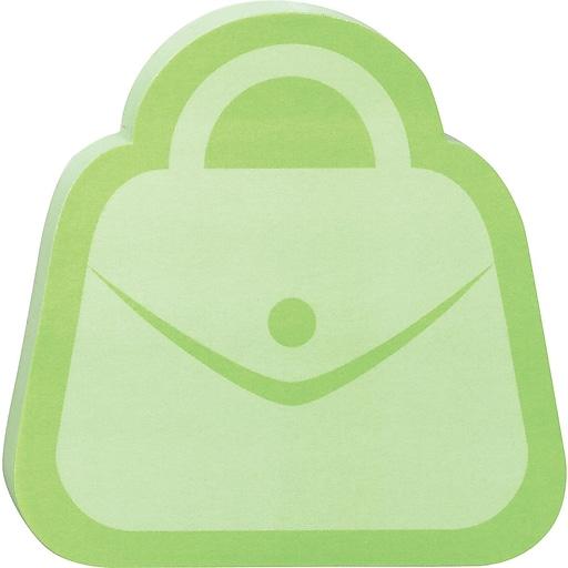 "Post-it® Die-Cut Memo Cube, 3"" x 3"", Green, Purse-Shaped, 2 Pads/Pack (2050-FC-PURS)"
