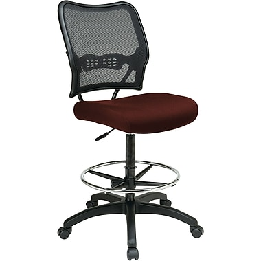 Office Star 13-7N20D-227 Space Seating Fabric Armless Drafting Chair, Burgundy