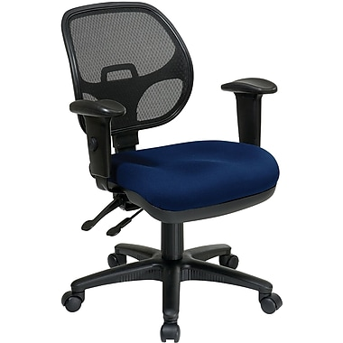 Office Star Proline II Fabric Computer and Desk Office Chair, Adjustable Arms, Navy (29024-225)