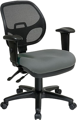Office Star Proline II Fabric Computer and Desk Office Chair, Adjustable Arms, Gray (29024-226)