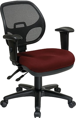 Office Star Proline II Fabric Computer and Desk Office Chair, Adjustable Arms, Burgundy (29024-227)