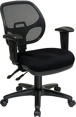 Office Star Proline II Fabric Computer and Desk Office Chair, Adjustable Arms, Black (29024-231)