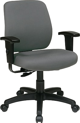 Office Star WorkSmart Fabric Computer and Desk Office Chair, Adjustable Arms, Gray (33107-226)