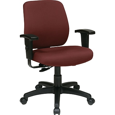 Office Star WorkSmart Fabric Computer and Desk Office Chair, Adjustable Arms, Burgundy (33107-227)