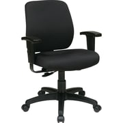 Office Star WorkSmart Fabric Computer and Desk Office Chair, Adjustable Arms, Black (33107-231)