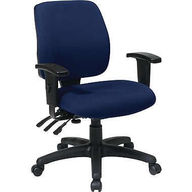 Office Star WorkSmart Fabric Computer and Desk Office Chair, Adjustable Arms, Navy (33327-225)