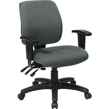 Office Star WorkSmart Fabric Computer and Desk Office Chair, Adjustable Arms, Gray (33327-226)