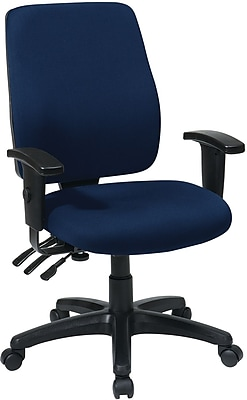 Office Star WorkSmart Fabric Computer and Desk Office Chair, Adjustable Arms, Navy (33347-225)