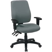 Office Star WorkSmart Fabric Computer and Desk Office Chair, Adjustable Arms, Gray (33347-226)