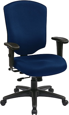 Office Star WorkSmart Fabric Executive Office Chair, Adjustable Arms, Navy (41572-225)