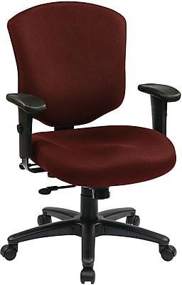 Office Star WorkSmart Fabric Executive Office Chair, Adjustable Arms, Burgundy (41573-227)