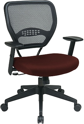 Office Star SPACE Fabric Managers Office Chair, Adjustable Arms, Red (55-7N17-227)