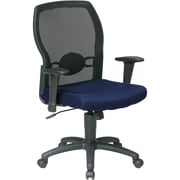 Office Star 599302-225 Work Smart Fabric Mid-Back Task Chair with Adjustable Arms, Navy
