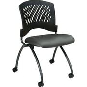 Office Star Proline II® Fabric Deluxe Armless Folding Chair with Plastic Back, Gray, 2/Pack