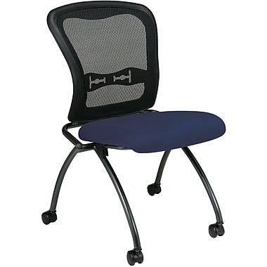 Office Star Proline II® Fabric Armless Folding Chair with ProGrid® Back, Navy