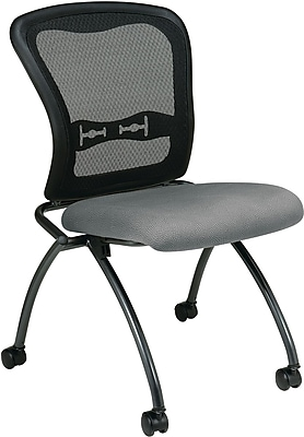 Office Star Proline II® Fabric Armless Folding Chair with ProGrid® Back, Gray