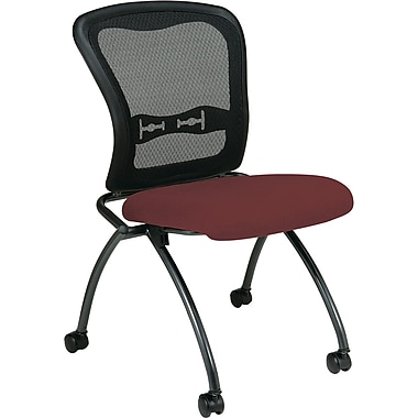 Office Star Proline II® Fabric Armless Folding Chair with ProGrid® Back, Burgundy