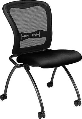 Office Star Proline II® Fabric Armless Folding Chair with ProGrid® Back, Black