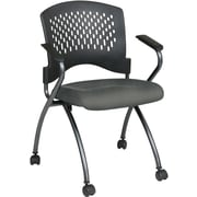 Office Star Proline II® Fabric Deluxe Folding Chair with Ventilated Plastic Back, Gray