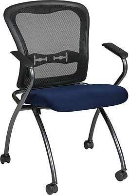 Office Star Proline II® Fabric Deluxe Folding Visitors Chair with Arm and ProGrid® Back, Navy