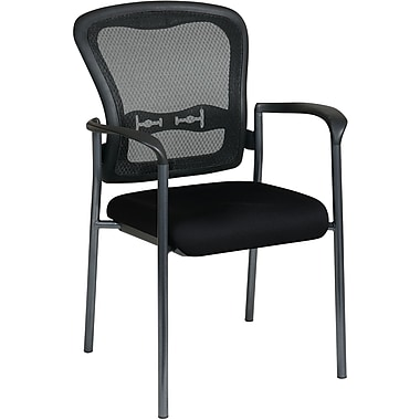 Office Star Proline II® ProGrid® Back Guest Chair with Arm and Titanium Finish, Black